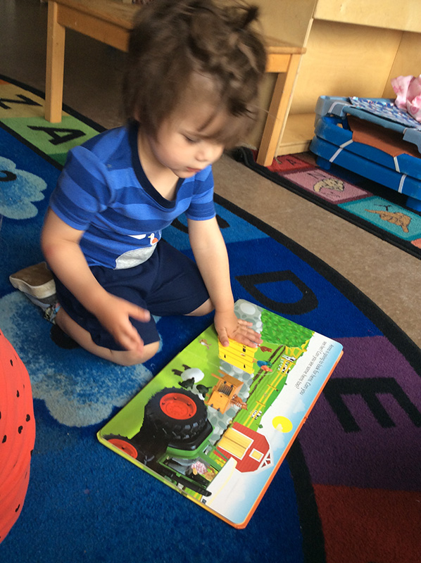Senior Preschooler looking through a picture book at West Ridge Early Education Centre